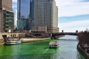 The Chicago River died green.